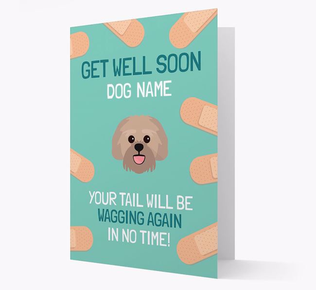 Personalized 'Get well soon Your Dog' Card with Lachon Icon