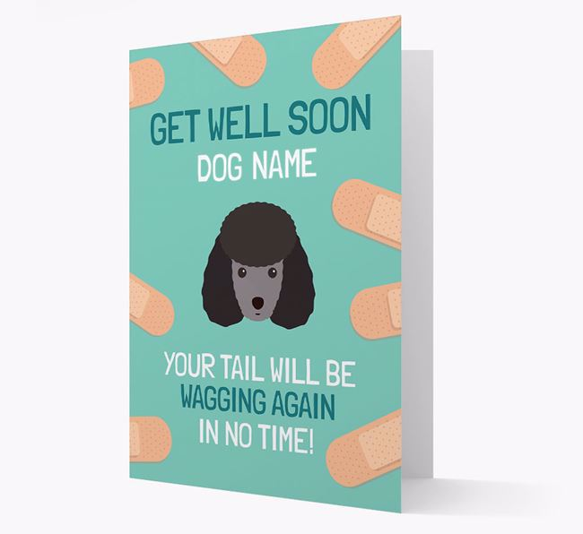 Personalized 'Get well soon Your Dog' Card with Miniature Poodle Icon
