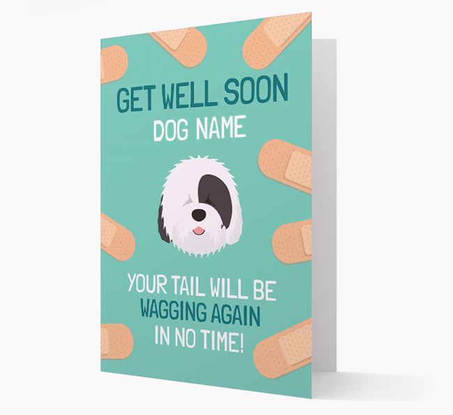 Personalized 'Get well soon Your Dog' Card with Old English Sheepdog Icon