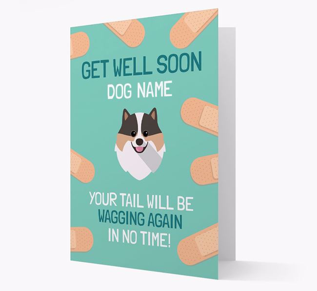 Personalised 'Get well soon Your Dog' Card with Pomeranian Icon