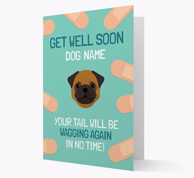 Personalised 'Get well soon Your Dog' Card with Pug Icon