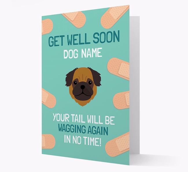 Personalized 'Get well soon Your Dog' Card with Pug Icon