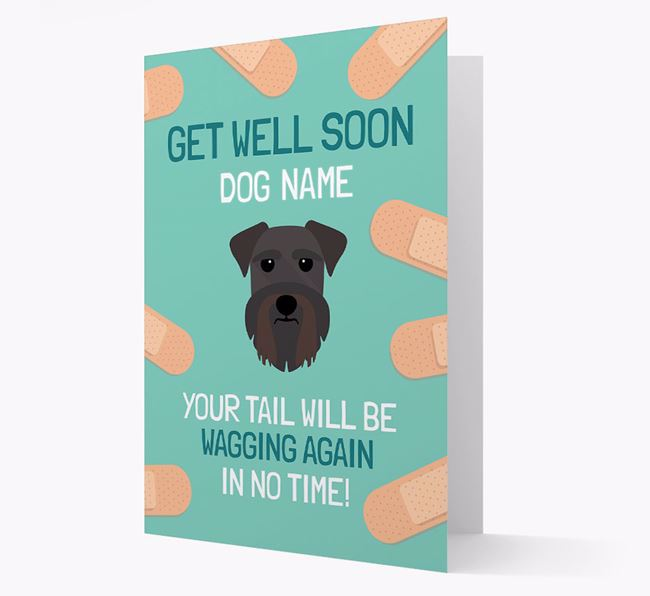 Personalized 'Get well soon Your Dog' Card with Schnauzer Icon