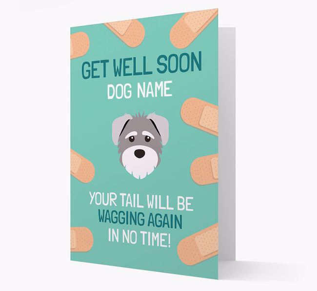 Personalized 'Get well soon Your Dog' Card with Schnoodle Icon