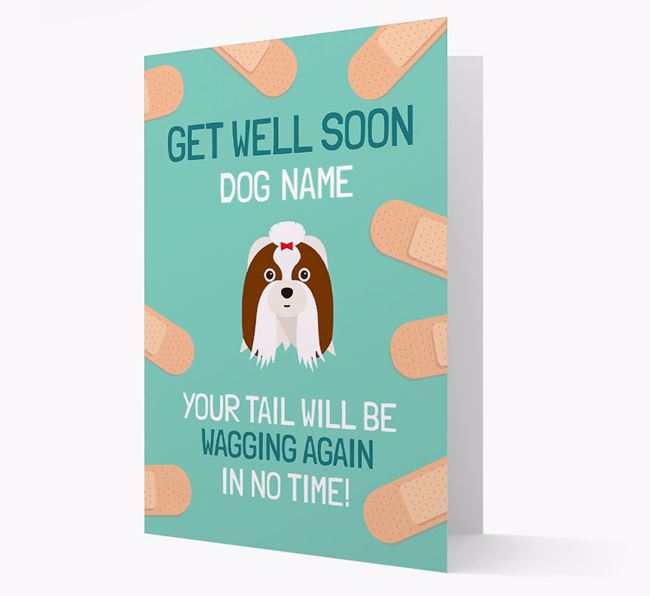 Personalized 'Get well soon Your Dog' Card with Shih Tzu Icon