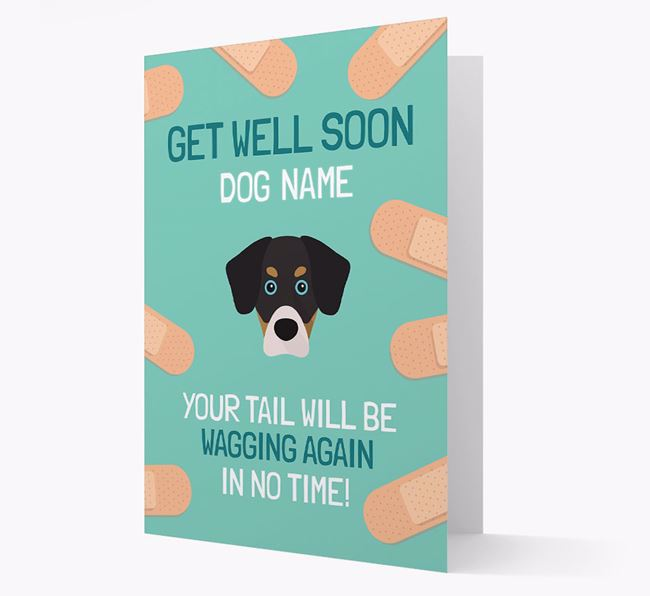 Personalized 'Get well soon Your Dog' Card with Siberian Cocker Icon