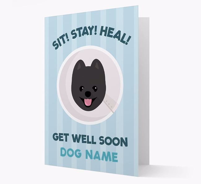 Personalized 'Sit! Stay! Heal! Get well soon Your Dog' Card