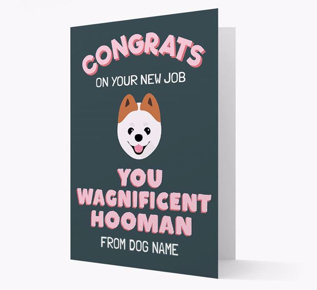 Personalized 'Congrats on your new job, you wagnificent human!' Card