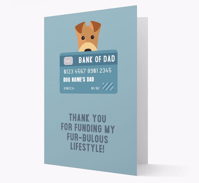 'Bank of Dad' - Personalised Airedale Terrier Card