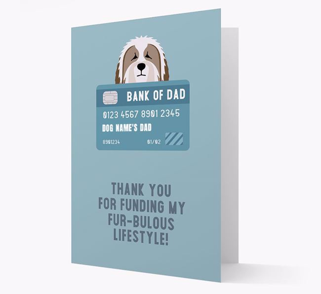 'Bank of Dad' - Personalised Bearded Collie Card