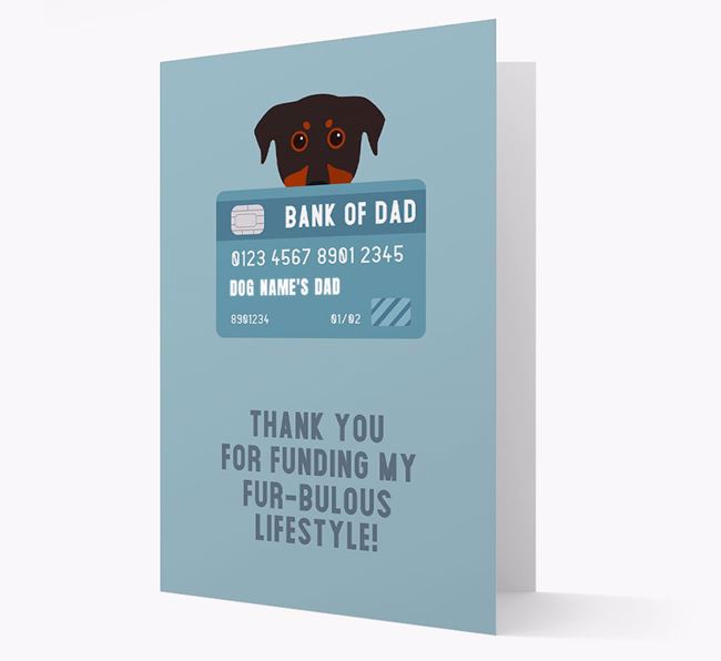 'Bank of Dad' - Personalised Beauceron Card