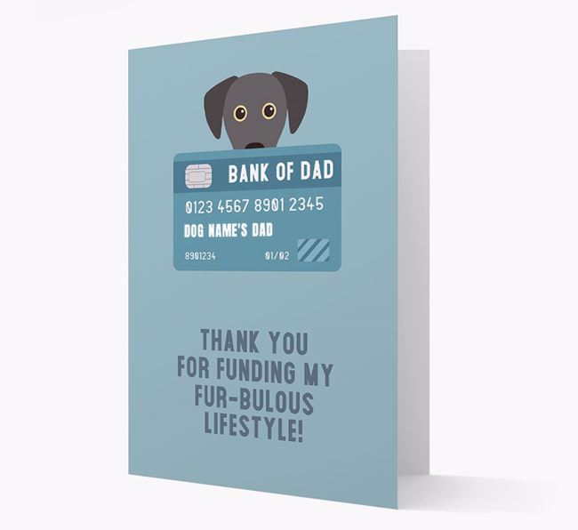 'Bank of Dad' - Personalised Blue Lacy Card