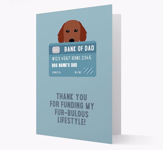 'Bank of Dad' - Personalised Flat-Coated Retriever Card