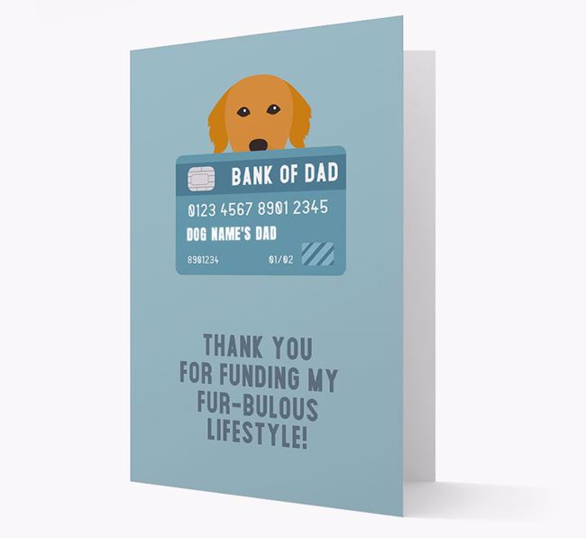 'Bank of Dad' - Personalised Golden Retriever Card