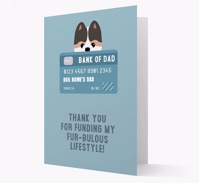 'Bank of Dad' - Personalised Pomeranian Card