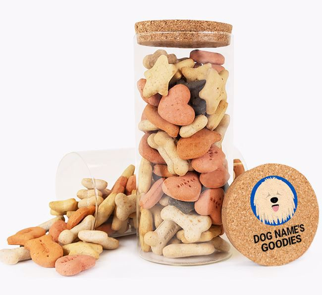 Glass Treat Jar 'Your Dog's Goodies' - Personalised for your Komondor