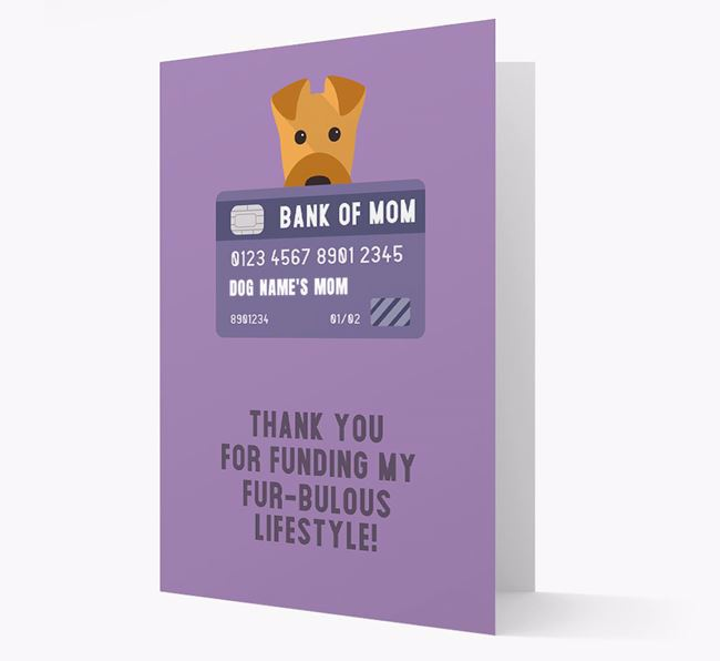 'Bank of Mom' - Personalised Airedale Terrier Card