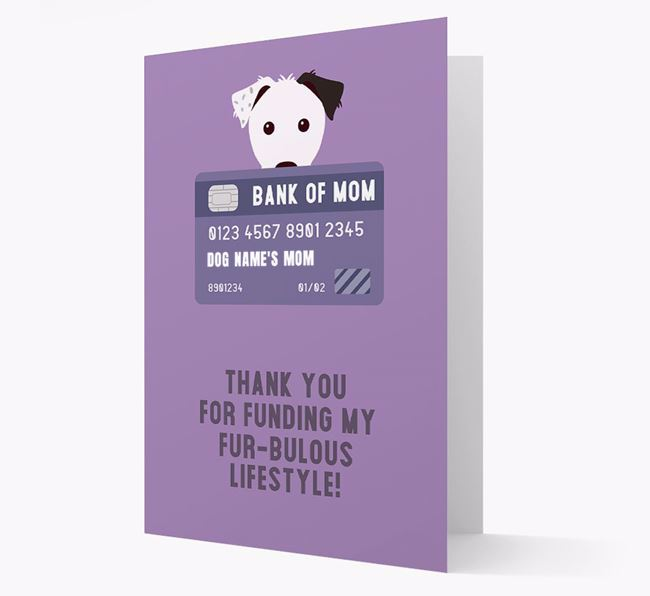 'Bank of Mom' - Personalised Parson Russell Terrier Card