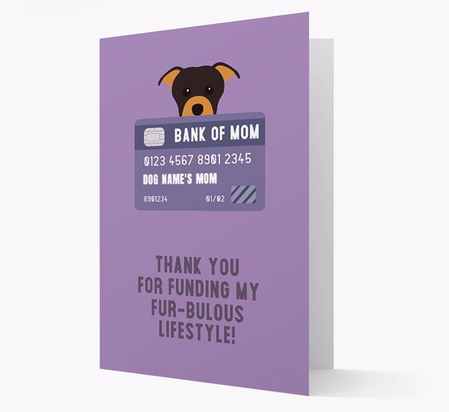 'Bank of Mom' - Personalised Staffordshire Bull Terrier Card