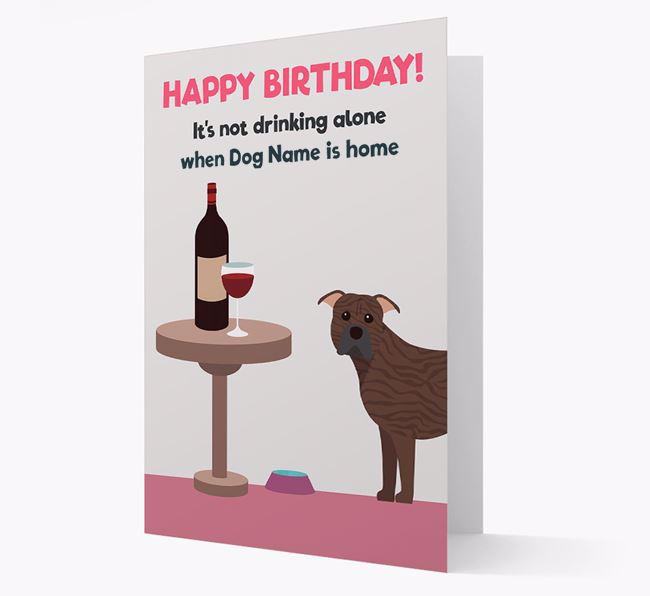 Personalized 'Birthday Drinks' Card with American Pit Bull Terrier Icon