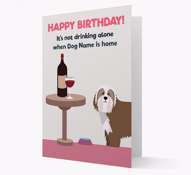 Personalized 'Birthday Drinks' Card with Bearded Collie Icon