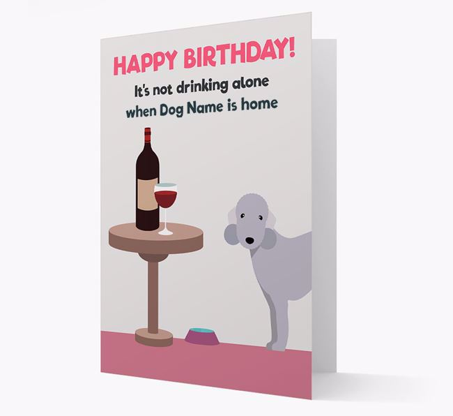 Personalized 'Birthday Drinks' Card with Bedlington Terrier Icon