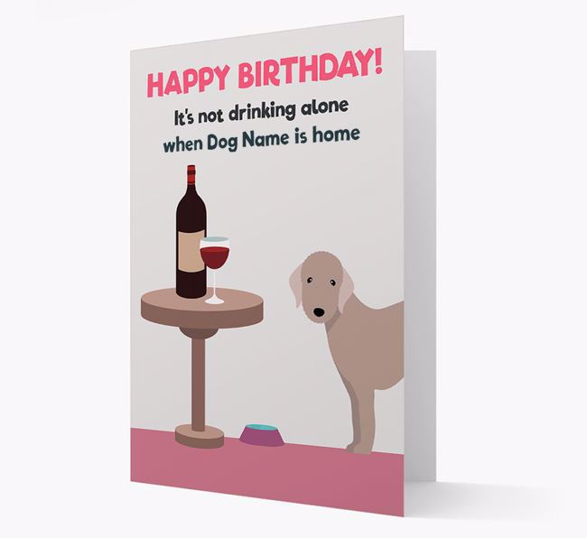 Personalised 'Birthday Drinks' Card with Bedlington Terrier Icon