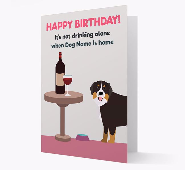 Personalised 'Birthday Drinks' Card with Bernese Mountain Dog Icon