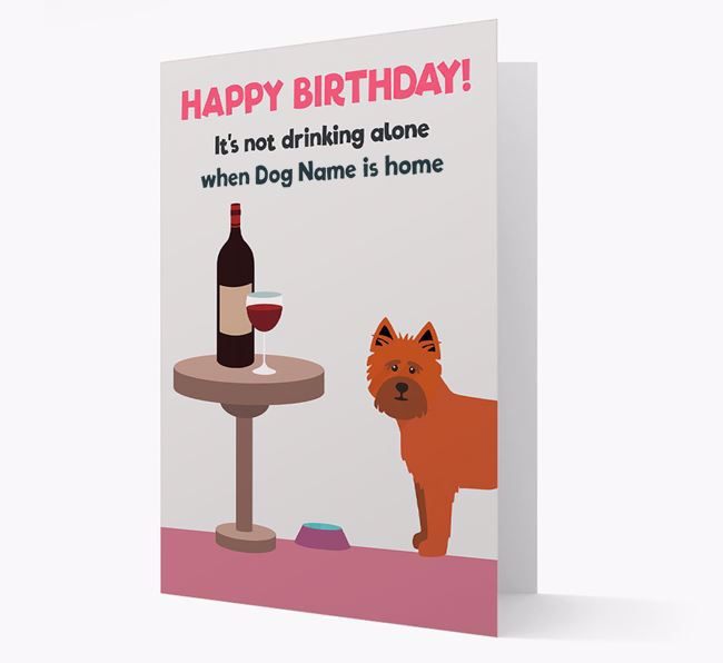 Personalized 'Birthday Drinks' Card with Cairn Terrier Icon