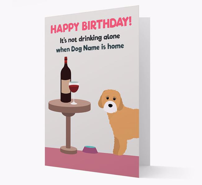 Personalized 'Birthday Drinks' Card with Cavachon Icon