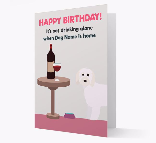 Personalized 'Birthday Drinks' Card with Cavapoo Icon