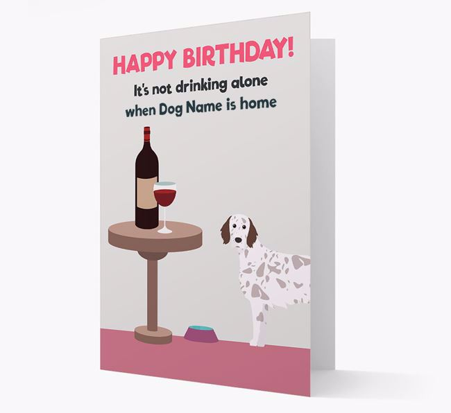 Personalized 'Birthday Drinks' Card with English Setter Icon
