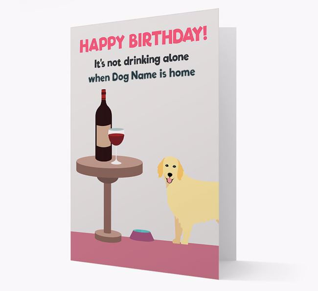 Personalized 'Birthday Drinks' Card with Flat-Coated Retriever Icon