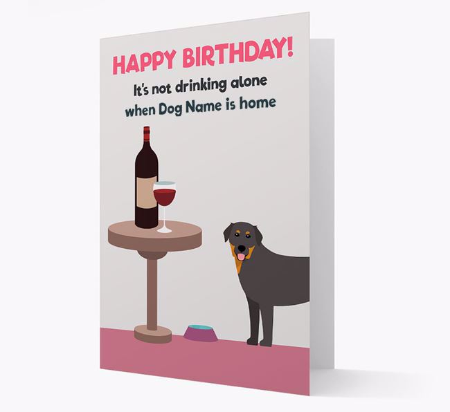 Personalized 'Birthday Drinks' Card with Golden Labrador Icon