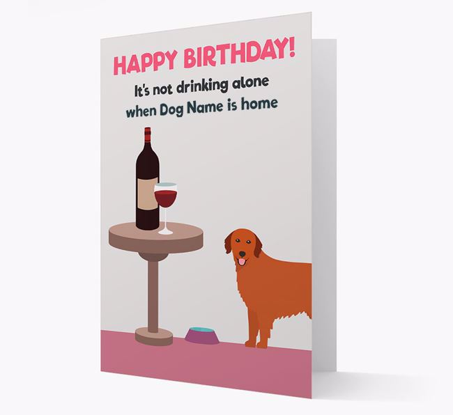 Personalized 'Birthday Drinks' Card with Golden Retriever Icon