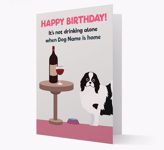 Personalized 'Birthday Drinks' Card with Japanese Chin Icon