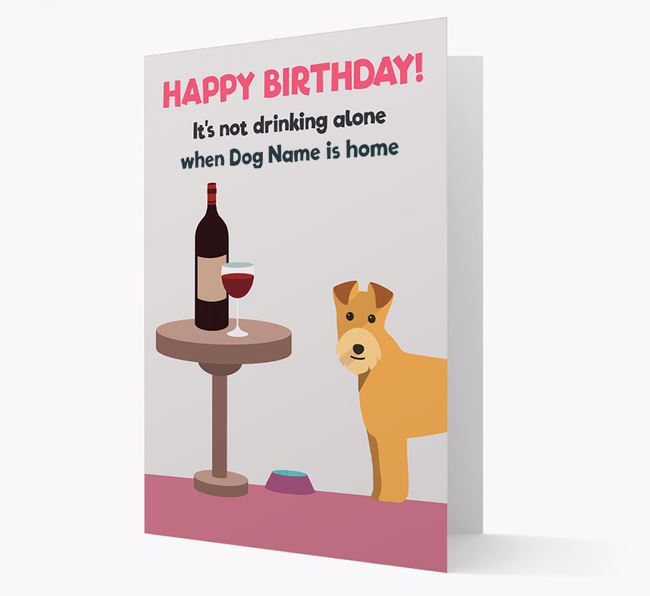Personalized 'Birthday Drinks' Card with Lakeland Terrier Icon