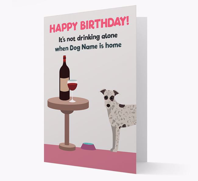 Personalized 'Birthday Drinks' Card with Lurcher Icon