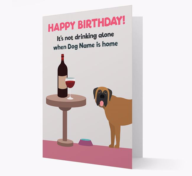 Personalized 'Birthday Drinks' Card with Mastiff Icon