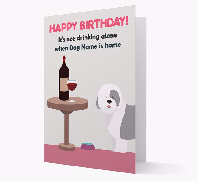 Personalized 'Birthday Drinks' Card with Old English Sheepdog Icon