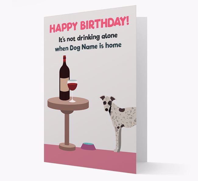 Personalized 'Birthday Drinks' Card with Whippet Icon