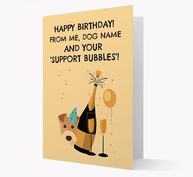 Personalised 'Birthday Support Bubbles' Card with Airedale Terrier Icon