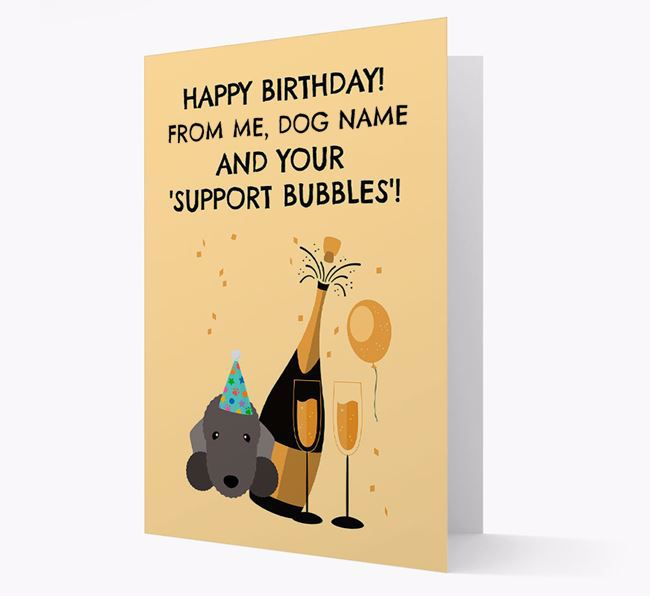 Personalised 'Birthday Support Bubbles' Card with Bedlington Terrier Icon