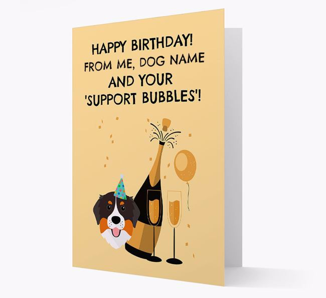 Personalised 'Birthday Support Bubbles' Card with Bernese Mountain Dog Icon