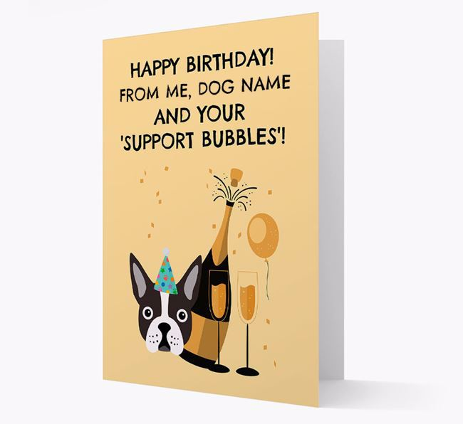 Personalized 'Birthday Support Bubbles' Card with Dog Icon