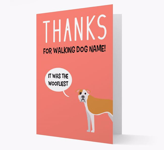 'Thanks for the Woofliest Walks' Card with American Bulldog Icon