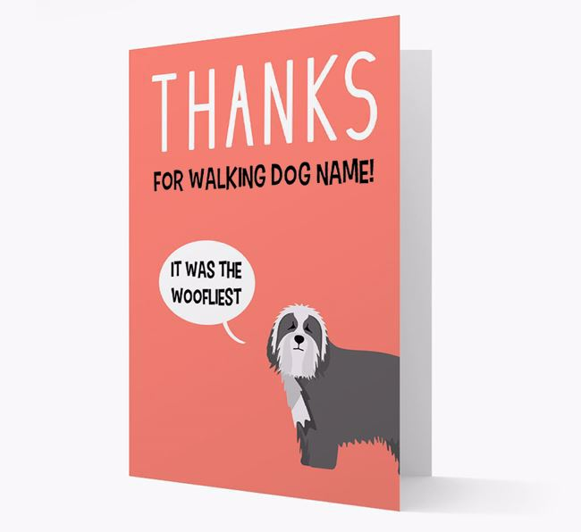 'Thanks for the Woofliest Walks' Card with Bearded Collie Icon