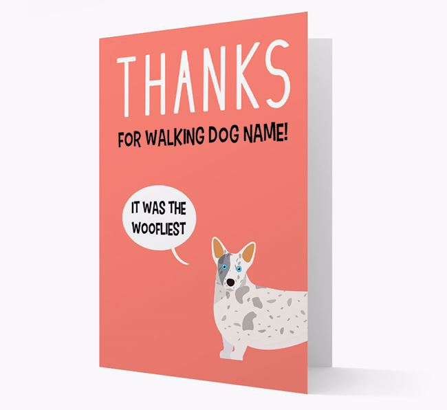 'Thanks for the Woofliest Walks' Card with Corgi Icon