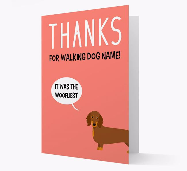 'Thanks for the Woofliest Walks' Card with Dachshund Icon