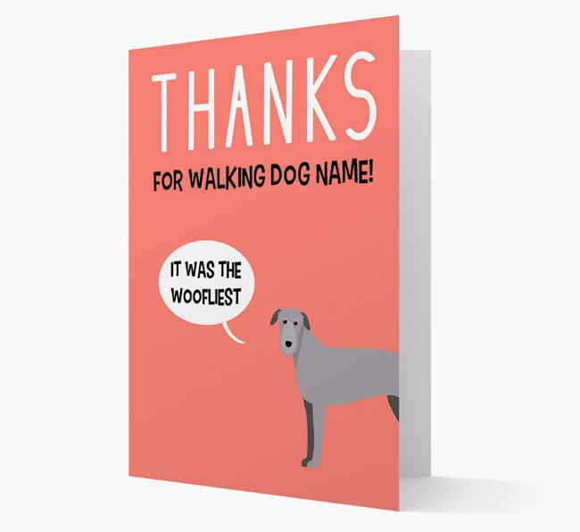 'Thanks for the Woofliest Walks' Card with Deerhound Icon